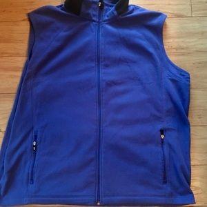 Men's Blue Lands End Fleece Thermacheck  Zip  Vest